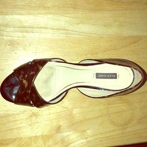 Animal print open toe heels